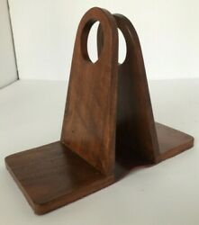 Mid Century Modern Wood And Leather Danish Modern Bookends Woodcraft By Paul