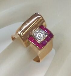 Antique Retro Ruby Old Mine Diamond Scroll Detail Cocktail Ring Solid 18k Rg