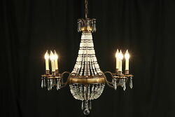 Bellini Crystal 6 Candle Oval Chandelier, Prisms And Ball, Murray Feiss 36634