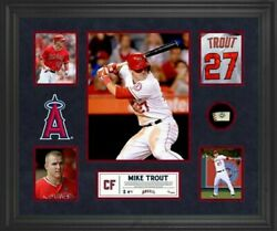 Mike Trout Angels 23x27 Custom Framed Game-used Baseball Piece Display