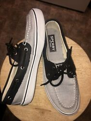 Mens Sperrys Top Sider Whiteish Black Canvas Black Leather 2eyed Boat Shoe- 9.5m