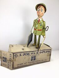 G.i. Joe And The K-9 Pups With Andldquooriginalandrdquo Box From Unique Art Wind-up Tin Toy