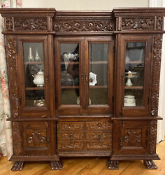 Ambala Brown Carved Wood Dining Cabinet China Chest Hand Crafted