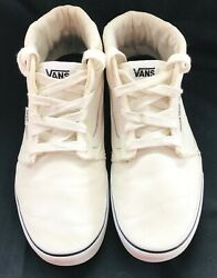 Vans Off The Wall White Canvas High Tops Skateboard Sneakers Mens 12
