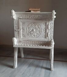 Wooden Floral Carved Cabinet White Hand Painted Storage Table Bedroom Furniture