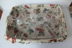 Longaberger 1998 Hostess Serving Tray Basket With 2 Protectors And Liner