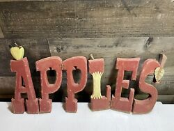 Apples Wood Hand Carved Hinged Sign Rustic Cider Mill Farm Kitchen Vintage Rare