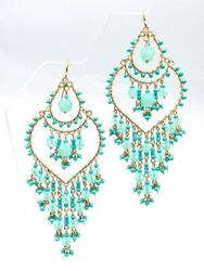 Artisanal Blue Aventurine Crystals Turquoise Beads Gold Wire Chandelier Earrings