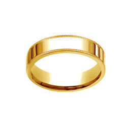 18k Yellow Gold 6mm Flat Comfort-fit Wedding Band Ring With Milgrain Size 11