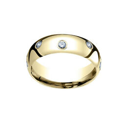 18k Yellow Gold 6mm Comfort Fit 0.32 Ct Natural Diamond Eternity Band Ring Sz 7