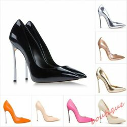 Womens Leather Prom Shoes Pointed Toe Stilettos High Heel Wedding Dress Pumps Sz