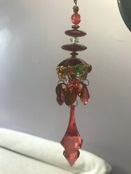 Christmas Ornament Victorian Ornate Red Prisms Multi Levels Ex2847