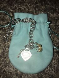 Rare Bracelet Heart Tag With Rose Gold Key And Gold Crown Charm