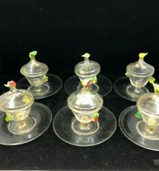 Salviati Hand Blown Venetian Glass Covered Fruit Coupes And Saucers, Set Of 11