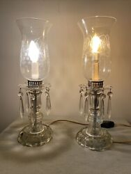 Vintage Glass Crystal Hurricane Lamps Etched Shades Set Of 2 16andrdquo