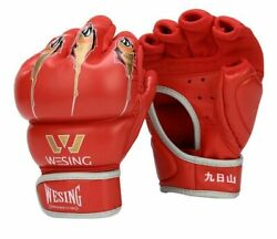 Mma Gloves Half Finger Boxing Thick Boxing For Fighting Black Blue Red