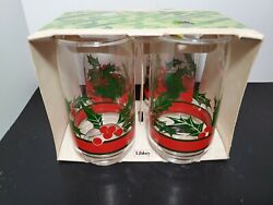 Vintage Christmas Holly Berries 5 Tall Tumblers Set Of 4 Glasses 12oz New