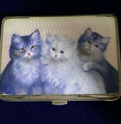 Rare 900 Silver German Hand-painted Guilloche Enamel Cigarette Case With 3 Cats.
