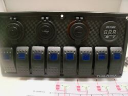 8 Gang Switch Panel With Volt Meter, Dual,usb,12v And Lighter Sockets