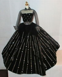 DRESS BARBIE DOLL MATTEL 1998 HOLIDAY BLACK amp; SILVER EVENING GOWN DRESS CLOTHING $15.96