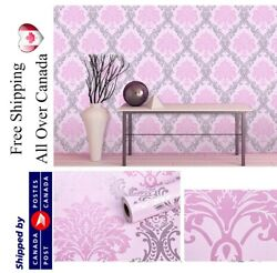 Pink Damask Wallpaper Peel And Stick Removable Contact Paper Selfadhesive Vinyl