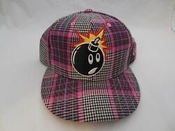 59fifty Hat Cap Baseball Adam Bomb Pink Flannel Rare Fitted 7 5/8 New Era