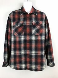 Rvca By Pm Tenore Shirt Red Blue Plaid Wool Blend Ls Button Down Mens Large Guc