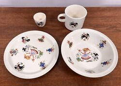 Arklow 4 Pc Set Nursery Rhymes Mary Had A Little Lamb Black Sheep Bowl Cup Plate