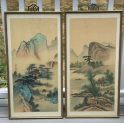 Vintage Pair Chinese Painting On Silk Landscape Gilt Faux Bamboo Wood Frame