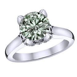 Moissanite And Real Diamond Solitaire Band Engagement Ring 14k White Gold