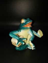 Vintage Anthropomorphic Frog Playing Drum Ceramic Figure Made In Occupied Japan