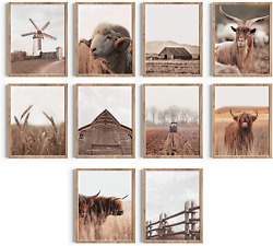 Cozyside Cow Decor Highland Cow Wall Art - Set Of 10 Farmhouse Pictures Wall Dec