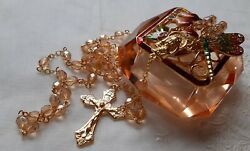 La Petit Golden Champagne Gloss Rosary W Faceted Glass Dragonfly Trinket Box