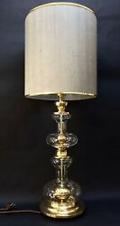 70and039s Large Glass Gold Ball Space Age Lamp Richard Essig Brass Table Bedside Hall