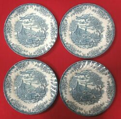 Set Of 4 The Brook Blue By Churchill 10 Dinner Plates Cottage Made In England