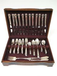1847 Roger Bros And039eternally Yoursand039 Silverplate Flatware Set Of 83 Pieces + Case