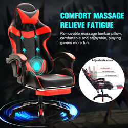 Red Leather Executive Office Desk Chair Ergonomic Swivel Computer Gaming Chair