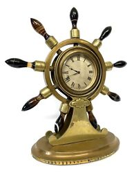 Antique Brass Ships Wheel Clock With Agate Jenner And Knewstud London