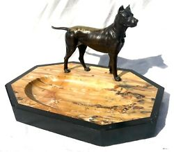 Huge Antique Polished Marble And Slate Desk Tidy With A Bronze Mastif Dog Figure