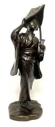 Large Antique Meiji Japanese Bronze Figure Of A Woman Carrying Her Guitar