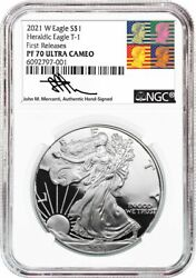 2021-w Type 1 American Silver Eagle Ngc Pf70ucam First Releases Reagan Mercanti