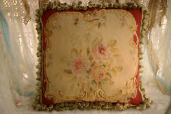 18 Hand Stitched French Vintage Floral Aubusson Design Throw Pillow Cover