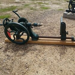 Vintage Chicago Heights Canedy Otto Mfg Co Post Drill Mounted On Maple Board