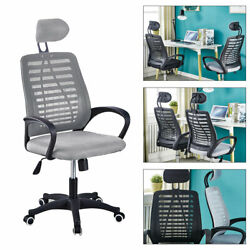 Grey Office Chair Home Desk Chair Computer Chair Adjustable Rolling Swivel Chair