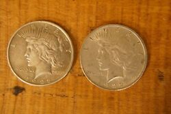 2 1922 Peace Liberty Silver Dollar Coins 90 Silver Both With Plastic Cases