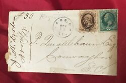 1878 Us Cover With A 10 Cent Jefferson And A 3 Cent Washington Stamp