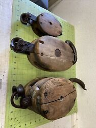 Lot Of 4vtg Pulleys Barn Or Ship Wooden With Iron Fittings P169