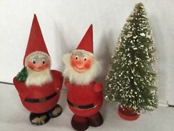 """Vintage Christmas Decorations Lot 2 Santa Candy Container Bottle Brush Tree 9"""""""