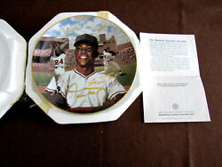 Willie Mays Ny Giants Hof Signed Auto Collectors L/e Plate Bradford Exchange Gem