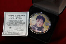 2002 Colorized U.s. Silver Eagle Coin With Elvis Presley, 25'th Anniversary Coin